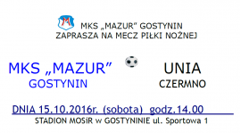 Zaproszenie na mecz z Unią Czermno