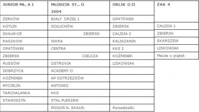 Podział na grupy drużyn młodzieżowych.