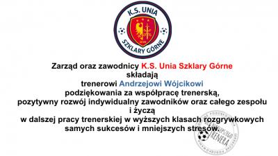 Podziękowania dla trenera Andrzeja Wójcika