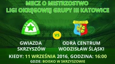 Zapowiedź meczu 5. kolejki Gwiazda Skrzyszów - Odra Centrum Wodzisław Śląski