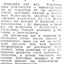 """""""Gazeta Pomorska"""" z 17.08.1966 o meczu z 16.08.1966 o wejście do III ligi: Zawisza II - Kujawiak Włocławek 4:2."""