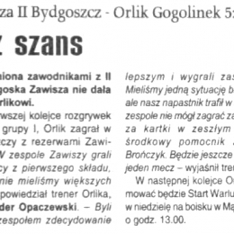 """Tygodnik Regionalny """"Powiat"""" z 19.08.2009 o meczu A klasy: Zawisza II - Orlik Gogolinek 5:0."""