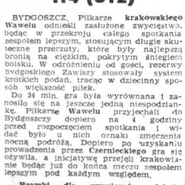 """""""Gazeta Pomorska"""" z 12.12.1961 o meczu III rundy Pucharu Polski z 10.12.1961: Zawisza II - Wawel Kraków 1 - 4."""