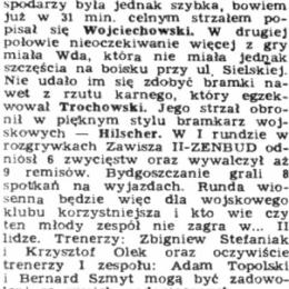 """Artykuł z """"NPS Stadiony"""" - 11.11.1991: o meczu III ligi Zawiszy II Bydgoszcz z Wdą Świecie."""