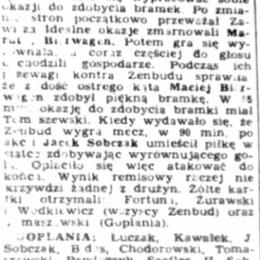 """Artykuł z """"NPS Stadiony"""" - listopad 1991 o meczu III ligi: Goplania Inowrocław - Zawisza II 1:1."""