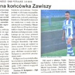 """Tygodnik Regionalny """"Powiat"""" z 22.10.2009 o meczu A klasy z 18.10.2009: Zawisza II - Dąb Potulice 3 - 0."""