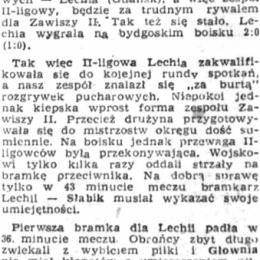 """""""Gazeta Pomorska"""" z 27.08.1973 o meczu rundy wstępnej Pucharu Polski: Zawisza II Bydgoszcz - Lechia Gdańsk 0 - 2  (25.08.1973)."""