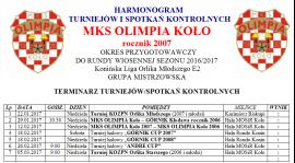ROCZNIK 2007: HARMONOGRAM PRZYGOTOWAŃ DO RUNDY WIOSENNEJ 2017