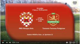 SENIORZY: MKS Olimpia Koło - Tarnovia Tarnowo Podgórne 17.11.2018 [VIDEO]