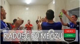 Radość szatni po meczu GKS - UNIA