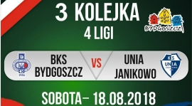 3 kolejka IV ligi. BKS Bydgoszcz - Unia Janikowo