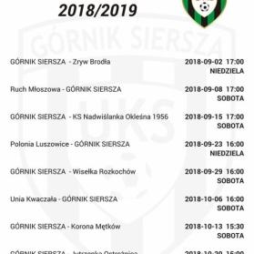 Terminarz sezon 2018/2019