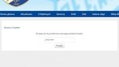 Strona tekstowa z hasłem