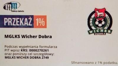 Przekaż 1% podatku na rzecz M-GLKS Wicher Dobra