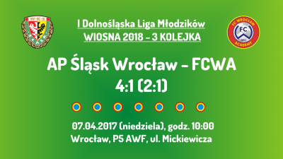 I DLM wiosna 2018 - 3 kolejka (07.04.2018): AP Śląsk Wrocław - FCWA