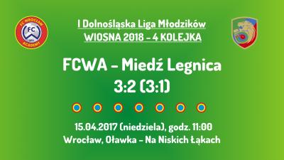 I DLM wiosna 2018 - 4 kolejka (15.04.2018): FCWA - Miedź Legnica
