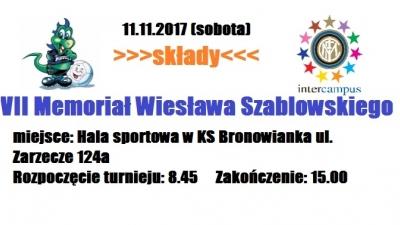 Organizujemy VII Memoriał Szablowskiego - składy.