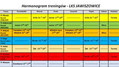 Harmonogram treningów - LKS Jawiszowice