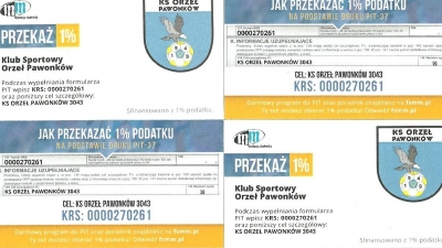 Przekaż 1% podatku na Klub Sportowy Orzeł Pawonków!