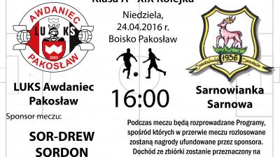 Derby regionu! Awdaniec - Sarnowianka Sarnowa