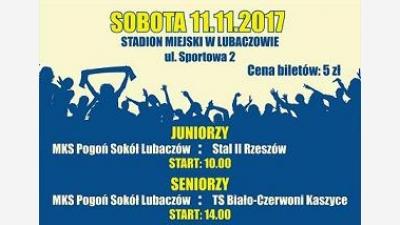 Ostatnie mecze rundy jesiennej- Zapraszamy Sobota 11.11.2017r. od godz. 10.00!!!