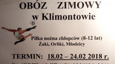 Obóz pilkarski w Klimontowie 18-24.02.2018