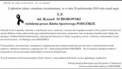 Zmarł inż. Ryszard  Ściborowski prezes KS Podgórze