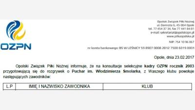 Podopieczni Trenera Mariusza i Mateusza Sierpińskich powołani na konsultacje OZPN rocznika 2003