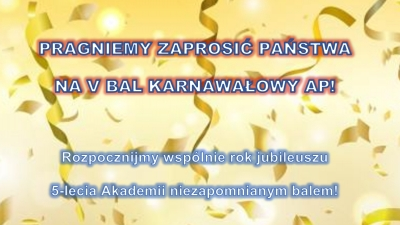 Zapraszamy na V Bal Akademii – 01.02.2020!