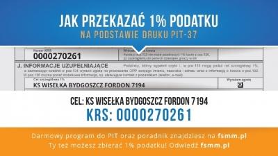 Przekaż 1% podatku na KS Wisełkę!