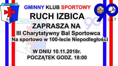 Zaproszenie na III Bal Charytatywny - Na sportowo w 100-lecie Niepodległości