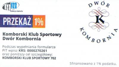"""Przekaż 1% podatku dla KKS """"Dwór"""" Kombornia"""