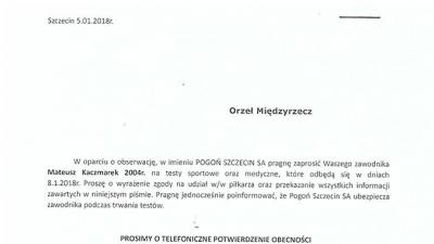 Testy zawodnika Orła w Pogoni Szczecin