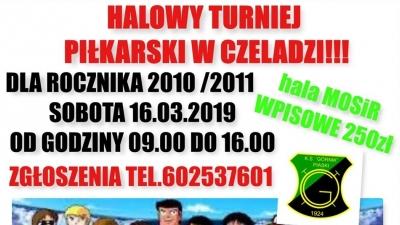 """Halowy turniej piłki nożnej dzieci z roczników 2010/2011 organizowany przez K.S. """"Górnik"""" Piaski"""