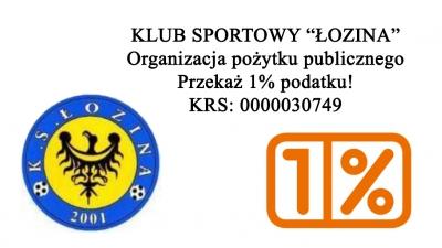 """Przekaż 1% podatku na Klub Sportowy """"Łozina"""""""
