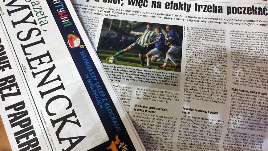 Gazeta Myślenicka podsumowuje rundę jesienną w wykonaniu Orła Myślenice
