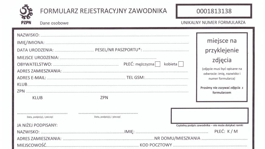 Formularz rejestracyjny zawodnika - PZPN