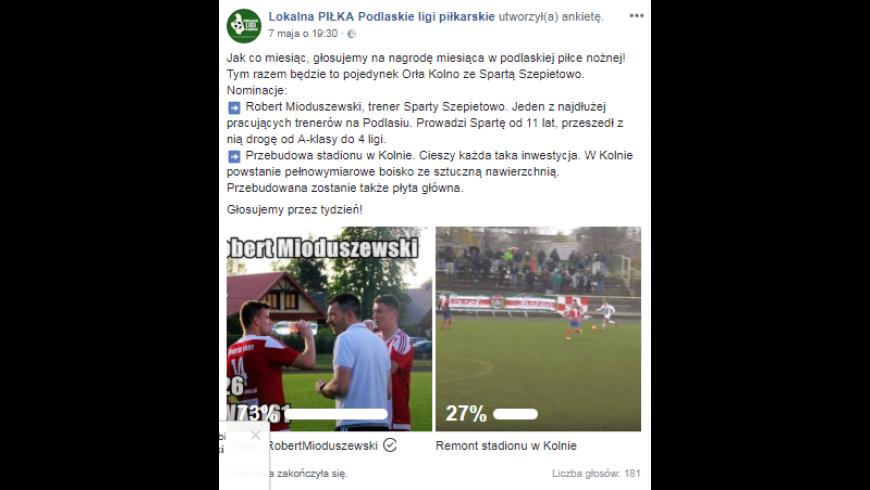 Trener Sparty Szepietowo wyróżniony przez kibiców i piłkarzy!