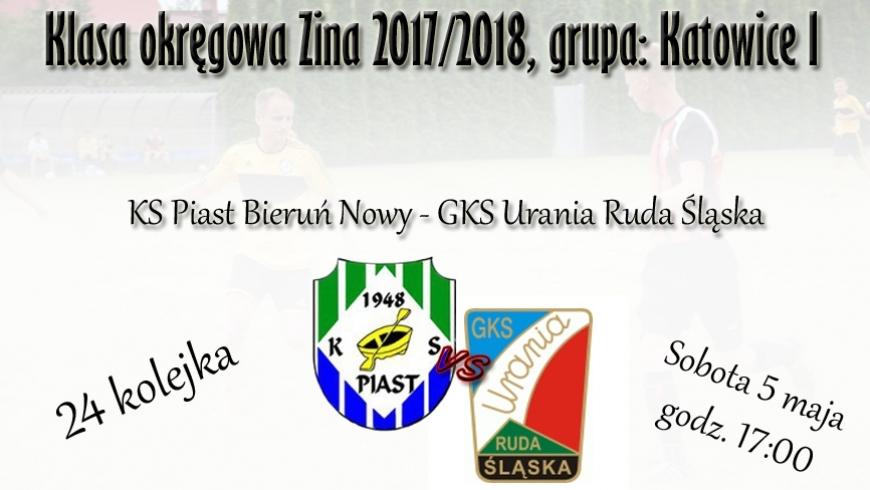 24 kolejka, mecz z Uranią Ruda Śląska. Zapraszamy jutro.