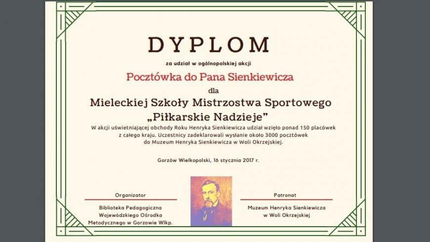 Dyplom dla MSMS Piłkarskie Nadzieje