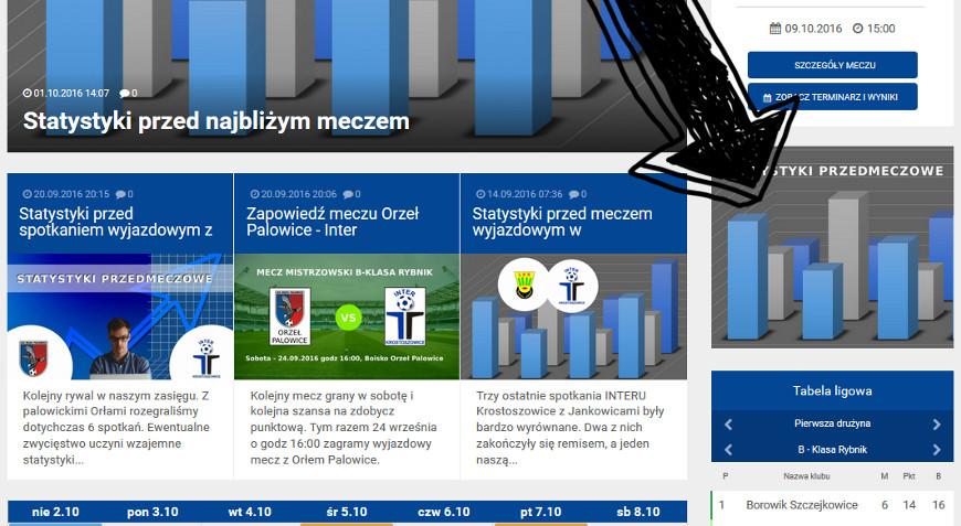 Statystyki przedmeczowe dostępne z prawej kolumny.